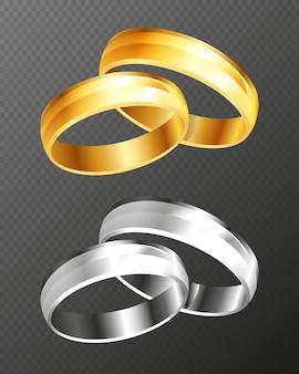 透明な背景に分離されたベクトルの結婚式の金と銀のリングセット