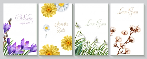 Vector wedding invitation card set with crocus watercolor