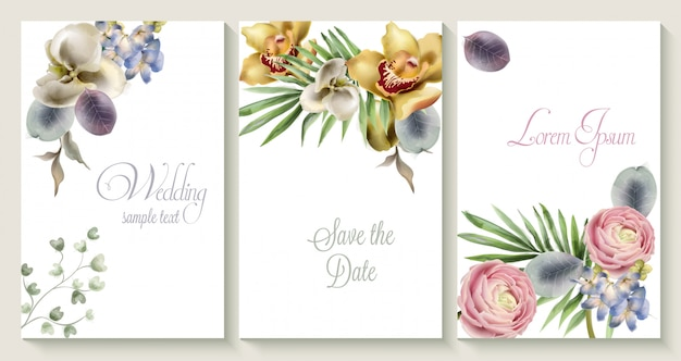 Vector wedding invitation card set with orchid flowers