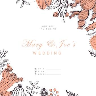 벡터 청첩장, 카드, 태그 디자인 서식 파일 - 텍스트 장소, 선인장, 가지, 흰색 배경에 고립 된 꽃 요소 배열 프레임. 손으로 그린 스케치 스타일.