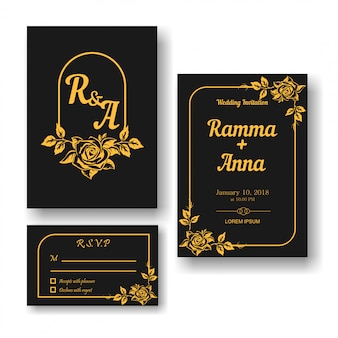 Vector wedding invitation and rsvp card