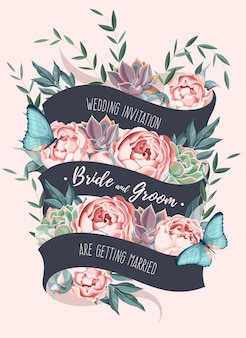 Vector wedding invitation with flowers and succulents