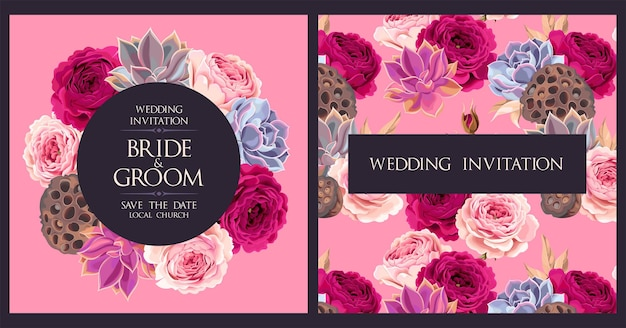 Vector wedding invitation with roses and succulents