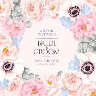 Vector wedding invitation with vintage flowers