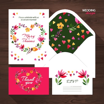 Векторный свадебный набор с акварельной цветочной иллюстрацией. приглашение на свадьбу, открытка с благодарностью, конверт и карточка rsvp.