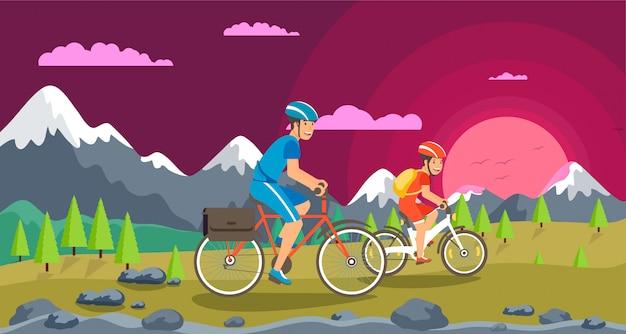 Vector weekend bike ride parents and children.