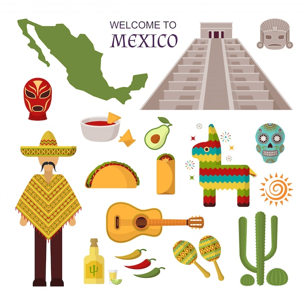 Vector welcome to mexico set