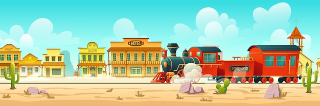 Vector western town street and steam train