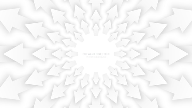 Vector white 3d arrows abstract conceptual illustration