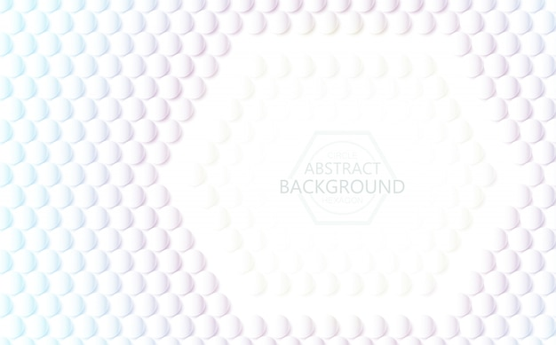 Vector white background 3d hexagon and circle abstract texture.