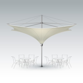 Vector white beige blank inversed lotus patio outdoor beach cafe bar pub lounge