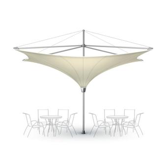 벡터 흰색 베이지 색 빈 반전 된 로터스 파티오 야외 해변 카페 바 펍 라운지
