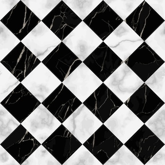 Vector white and black check marble seamless pattern repeat diagonal marbling surface