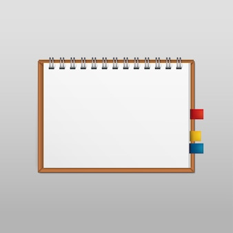 Vector white blank paper note notebook notepad page isolated on