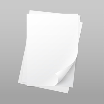 Vector white blank paper page sheet with corner curl isolated on