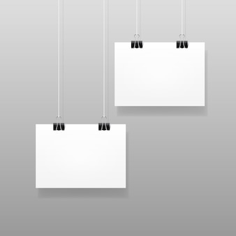 Vector white blank paper wall poster mockup template frame design