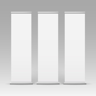 Vector white blank roll up business banner stands for advertising