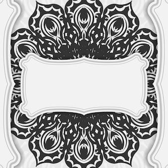 검은색 만다라 장식이 있는 벡터 흰색 엽서 디자인입니다. 텍스트와 패턴을 위한 공간이 있는 초대 카드 디자인.
