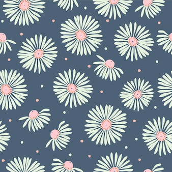 Vector white cosmos flower illustration motif seamless repeat pattern summer season fabric