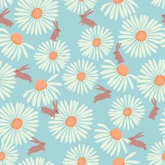 Vector white cosmos and rabbit illustration motif seamless repeat pattern digital file artwork