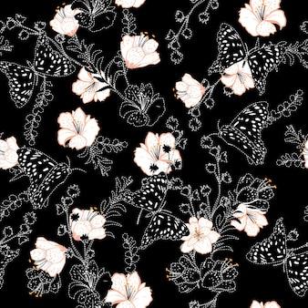 벡터 백색 대시 및 자 수 꽃 원활한 패턴