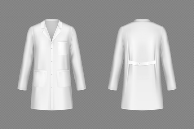 Vector white doctor coat, medical uniform