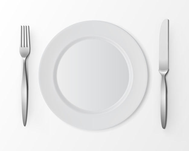 Vector white empty flat round plate with fork and knife