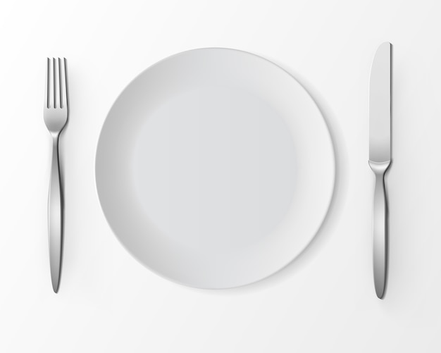 Vector white empty round plate with fork and knife