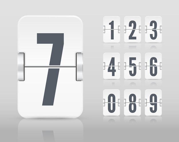 Vector white flip scoreboard template with numbers and reflections for white countdown timer or calendar isolated on light background.