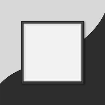 벡터 화이트 갤러리 프레임, 빈 커버가 있는 흑백 프레임 화면 템플릿 모의, 검은색 및 회색 배경의 정사각형 프레임