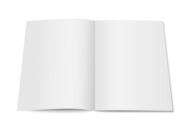 고립 된 잡지의 벡터 흰색 모의입니다. 흰색 배경에 세로 잡지, 브로셔, 책 또는 노트북 템플릿을 열었습니다. 귀하의 디자인에 대 한 3d 그림