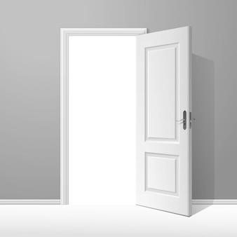 Вектор белая открытая дверь с рамкой