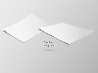 Vector white paper and a card on a gray background.