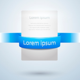 Vector white paper banner with blue ribbon used for web designs