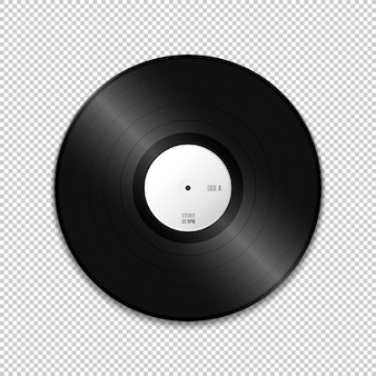 Vector white paper label lp vinyl record blank mock up realistic illustration with shadow template design isolated on transparent background