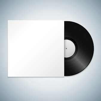 Vector white paper lp vinyl record blank label sleeve cover mock up realistic illustration with shadow template design isolated on light background