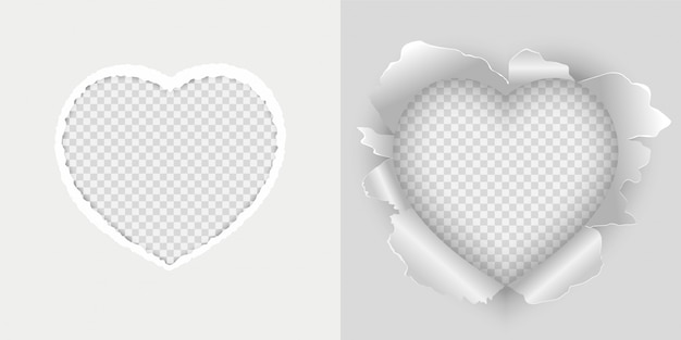 Vector white paper torn in the shape of heart. set of heart torn paper vector illustration.