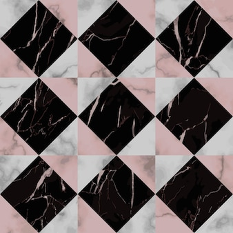 Vector white pink and black check marble seamless pattern