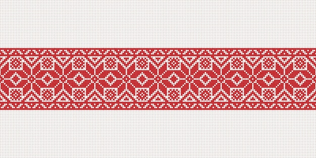 Vector white-red-white flag, symbol of freedom belarus with national belarus ornament. slavic ethnic pattern. embroidery, cross-stitch