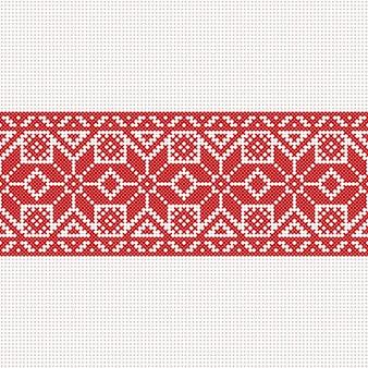 Вектор бело-красно-белый флаг, символ свободы беларуси с национальным орнаментом беларуси. славянский этнический узор. вышивка, вышивка крестиком