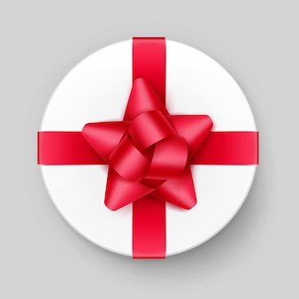 Вектор белая круглая подарочная коробка с блестящим красным алым бантом и лентой