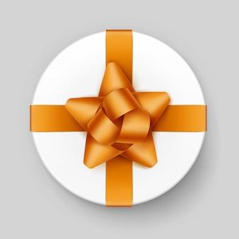 Вектор белая круглая подарочная коробка с блестящим желтым золотым бантом и лентой