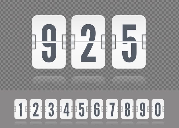 Vector white scoreboard numbers floating with reflections. tamplate for flip countdown timer or calendar on dark background or your design.
