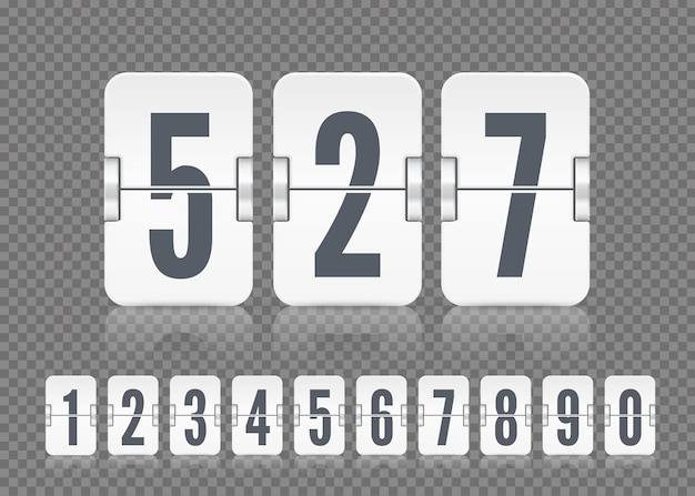 Vector white scoreboard numbers with reflections for flip countdown timer or calendar on dark transparent background. template for your design.