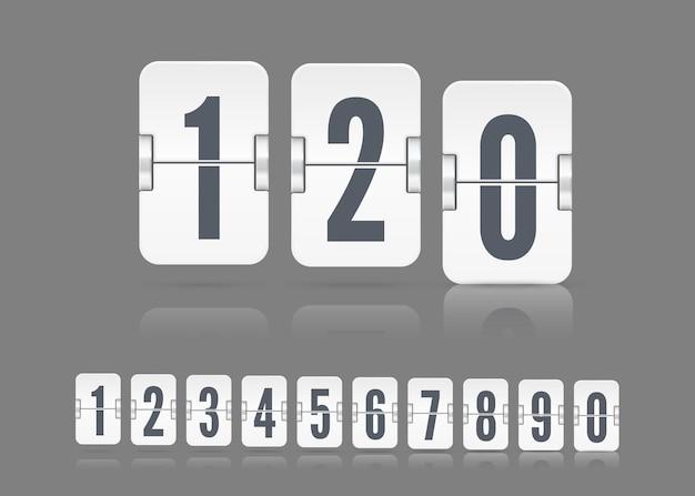 暗い背景のフリップカウントダウンタイマーまたはカレンダーの異なる高さに浮かぶ反射で白いスコアボード番号をベクトルします。あなたのデザインのテンプレート。