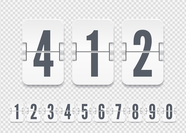Vector white scoreboard numbers with shadows for flip countdown timer or calendar on transparent background. template for your design.