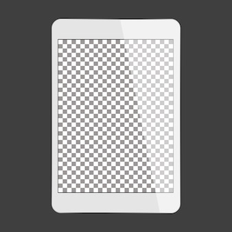 Vector white tablet transparent screen
