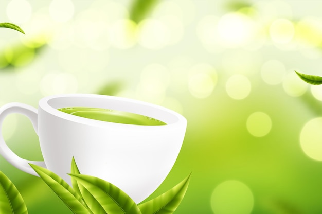Vector white tea cup with the leaves on green