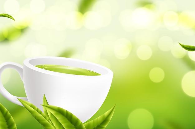 Вектор чашка белого чая с листьями на зеленом