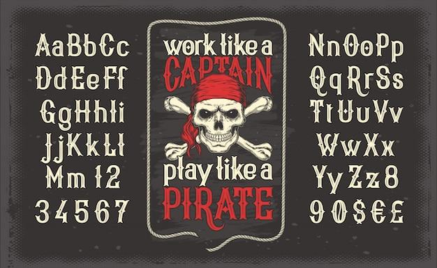 Vettore bianco vintage carattere, l'alfabeto latino con retro pirata stampa con teschio e crossbones